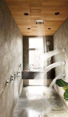 this shower would be very refreshing and relaxing, almost like you're standing under a water fall, for how the showerheads are coming both down vertically and horizontally