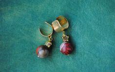 Jasper Ear Cuffs | Gemstone Ear Cuffs | 24k Gold Plated Star Ear Cuffs | Steven Universe Jasper | Red Grey | Mookite Jasper | Jasper Earring