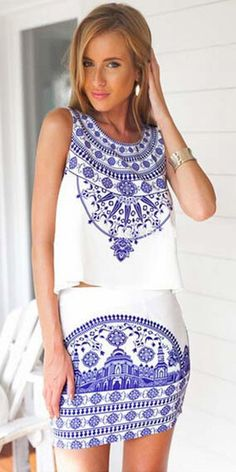 Fashion Blue and White Porcelain Print Tops + Skirt Two-piece Set