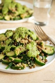 Green Powerhouse Pesto Plate: combo of millet, green lentils, zucchini and spinach with a homemade healthy pesto. Raw Food Recipes, Veggie Recipes, Vegetarian Recipes, Cooking Recipes, Healthy Recipes, Vegetarian Cooking, Vegan Plate, Clean Eating, Healthy Eating