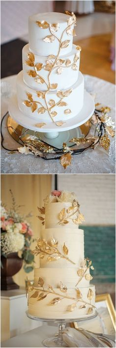 wedding cake was a vanilla and cream confection with fondant and edible gold leaves / http://www.deerpearlflowers.com/amazing-wedding-cake-ideas/5/ #weddingcakes