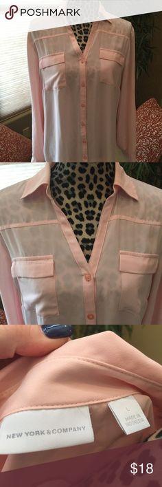 Gorgeous sheer blouse Like new New York & Co sheer blouse. Pale pink New York & Company Tops Blouses