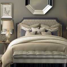 Queen-Fabric-Headboards-Upholstered-Headboard - LOVE THIS!  Looks so serene