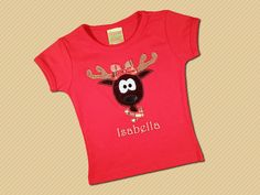 Cutie Reindeer Top with Red Madras Bow and by SunbeamRoad on Etsy, $24.00