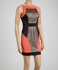 Look at this #zulilyfind! Coral Mesh Contrast Sleeveless Dress by Minuet #zulilyfinds