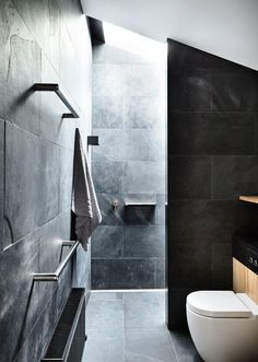 Need tips for renovating a small bathroom? Maximise space in your small bathroom with these clever ideas. Slate Bathroom, Art Deco Bathroom, Laundry In Bathroom, Bathroom Ideas, Modern Bathroom, Bathroom Inspiration, Upstairs Bathrooms, Rustic Bathrooms, Small Bathrooms