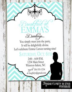 Breakfast at Tiffany's Invitation by Meghilys on Etsy, $8.00