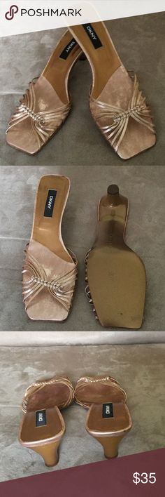 "DKNY 8 rose gold leather slides 2"" heel from Spain Beautiful and feminine made in Spain DKNY size 8M rose gold leather slides 2"" heel. DKNY Shoes Heels"