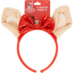 Clarice Ears and Red Bow Headband ($35) ❤ liked on Polyvore featuring accessories, hair accessories, headband hair accessories, bow headbands, red sequin headband, head wrap headband and red bow headband