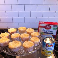 1 box of Angel Food Cake Mix and 1 large can of crushed pineapple with the juice! Combine only those 2 ingredients!! Bake at 350 for 40 min or until golden brown) Thats it!!!! It really works and is sooo yummy and FAT FREE)))