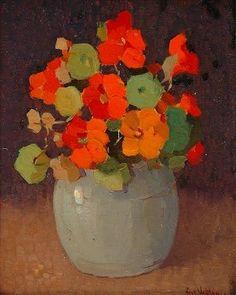 peinture hollandaise : Frans Oerder, bouquet de fleurs dans un vase, capucines, orange