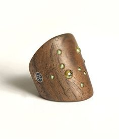 Women's Peridot & Walnut Burl, wood and gemstone ring, unique handmade jewelry, eco urban style on Etsy, $79.00