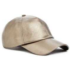 GUESS Metallic Faux-Leather Baseball Cap ($29) ❤ liked on Polyvore featuring accessories, hats, baseball caps, ball cap, metallic hat, faux leather baseball hat and baseball hats