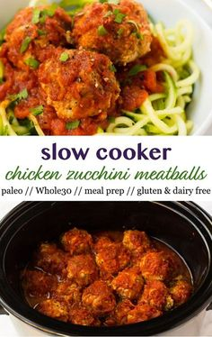 A meal prep staple only 8 ingredients and with hidden veggies in them these approved Slow Cooker Chicken Zucchini Meatballs make the easiest healthy dinner option without the fuss! Made in the crockpot and paleo gluten dairy free! - Eat the Gains Healthy Dinner Options, Paleo Dinner, Easy Healthy Dinners, Healthy Crockpot Recipes, Slow Cooker Recipes, Paleo Recipes, Paleo Meals, Healthy Eating Tips, Healthy Cooking