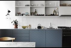 Modern Kitchen Cabinet Doors Architecture Design With The Modern Kitchen With Blue Cabinet Doors And Open Upper Cabinets Is On Kitchen Interior Desing, Scandinavian Interior Design, Scandinavian Kitchen, Swedish Kitchen, Kitchen Modern, Nordic Kitchen, Masculine Kitchen, Minimal Kitchen, Kitchen Grey