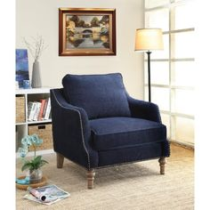 Vessot Chair with nailheads! Gently sloped arms make it truly desirable! #accentchair #bluechair
