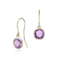 Amethyst Solitaire Earrings in 14k Yellow Gold
