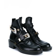 BALENCIAGA Apron Buckle Boots with Cut-out Detailing ($1,090) ❤ liked on Polyvore featuring shoes, boots, pull on leather boots, cut-out boots, buckle boots, real leather boots and leather slip-on shoes