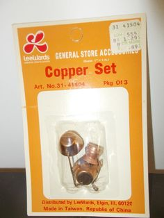 Copper Set Pots Pans Ladle Vintage Dollhouse Miniature Accessories #Renwal