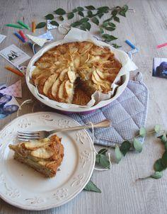 Vegan apple and custard cake.