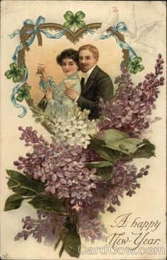 A Happy New Year- Couple in Heart Portrait with Flowers