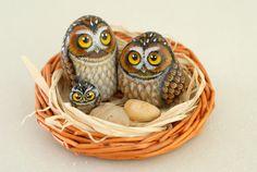 Owl family, hand painted stone. $120.00, via Etsy.