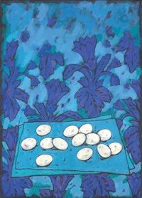 Eggs and gentians by Felice Casorati