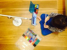 Kids using FLOTE ipad stand for playing Rainbow Loom. FloteYourTablet.com  #FLOTE, #Rainbow Loom, #ipad stand, #ipad floor stand, #ipad bed stand, #ipad, #kids
