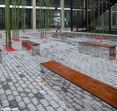 Coreten bench with invisible like mirror bases.  China