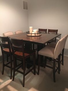 """James+James: Custom bar height table is 55"""" x 55"""" x 42"""" H with a traditional top…"""