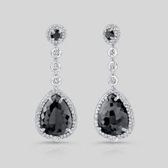 Pear shape black diamond drop earrings.  By Norman Silverman.  Available at Alson Jewelers.