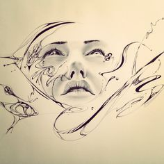 My art from taking a break from other art. Surrealism Drawing, Face Sketch, Surreal Art, Oil Painting On Canvas, Textile Art, Art Projects, Creatures, Sketches, Black And White