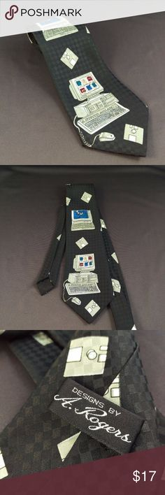 """A. Rogers Computer Tie 58"""" Necktie Designs by A. Rogers Computer Funny Neck Tie  Excellent condition. Smoke free. 58"""" Length  4"""" Width  RT1 A. Rogers Accessories Ties"""