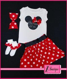 Minnie Mouse Birthday Girl Set. . .   Skirt, Shirt with Custom Rhinestone Design, Ruffle Socks, and Big Minnie Hair Bow. $46.00, via Etsy.