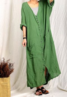 Material: 100% linen, Color: same as picture Size: Free Size Length: 108-115 cm Shoulder: no limit Bust: 124 cm / 48.82 Inch