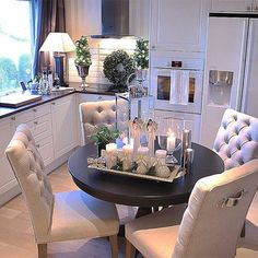 80 the best small dining room design ideas that you can try in your home 10 Christmas Dining Table, Christmas Table Centerpieces, Christmas Decorations, Holiday Decor, Dining Room Design, Interior Design Living Room, Dining Room Decor Elegant, Elegant Dining, Small Dining