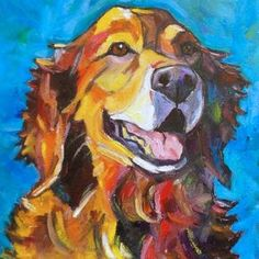 Scarlett, Golden Retriever, painting by artist Elizabeth Fraser