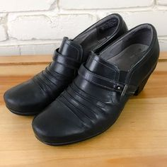 ABEO Women's Shoes ~ RACHEL Black Leather Stack Heel Orthotic Booties ~ US 9.5 M #Abeo #PumpsClassics