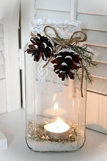 Everyone loves candles because they create a cozy and warm atmosphere everywhere, and I think there's no more appropriate thing for winter wedding décor than candles. Candles are awesome for centerpieces. Noel Christmas, Rustic Christmas, Winter Christmas, Christmas Wedding, Christmas Candles, Simple Christmas, Beautiful Christmas, Christmas Ribbon, Natural Christmas