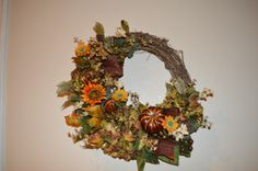 Your place to buy and sell all things handmade Wreaths For Front Door, Door Wreaths, Grapevine Wreath, Wild Star, Sunflower Wreaths, Autumn Wreaths, Fall Season, Gourds, Grape Vines