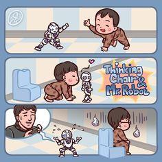 """Thinking chair & Mr. Robot""  #DaehanMingukManse #송대한 #송민국 #송만세 #대한민국만세#SongIlKook #송일국 #TeamDaehanMingukManse #TeamSongIlKook"