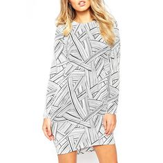 $21.78 Stylish Round Collar Long Sleeve Printed Cut Out Women's Dress