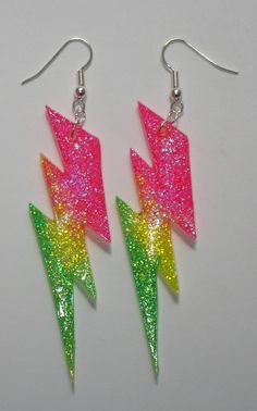 AMAZING neon rainbow lightning resin earrings. LOVE these!!!