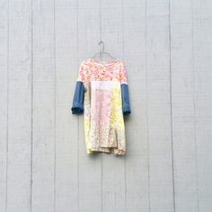 Upcycled Denim, Wearable Art, Recycled Shirt, Repurposed Clothing, Fun Clothes, Cotton Dress, Sustainable Clothing, Floral Tunic, Pink Dress by CreoleSha