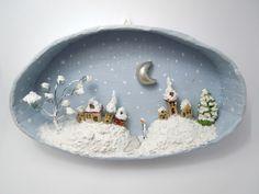 Handmade 3D Diorama Snowy Village, Handmade Cardboard Shadowbox, Clay Miniature Village covered in Snow, Wall framed art. €21.00, via Etsy.