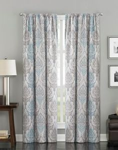 with a blue solid at the bottom to make them long enough. Pendleton Paisley Damask Ikat Curtain Panel