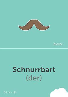 Schnurrbart #CardFly #flience #human #german #education #flashcard #language