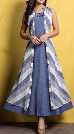 Kurti with jacket Kurta Designs Women, Kurti Neck Designs, Kurti Designs Party Wear, Salwar Designs, Cotton Kurtis Designs, Latest Kurti Designs, Stylish Dresses, Fashion Dresses, Casual Dresses