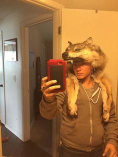 Wolf headdress mounted head w teeth feet and by CherokeeSpirits