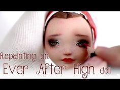 Faceup Tutorial - Repainting an Ever After High doll by Unniedolls Ooak Dolls, Blythe Dolls, Art Dolls, Monster High Repaint, Monster High Dolls, Doll Eyes, Doll Face, Youtube Dolls, Art Doll Tutorial